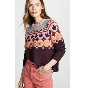 Cinq A Sept Fair Isle Knit Pullover Sweater Size M